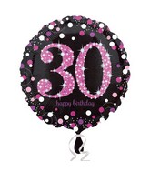 """18"""" Pink Celebration 30 Balloon Packaged"""