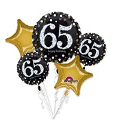 Bouquet Sparkling Birthday 65 Balloon Packaged