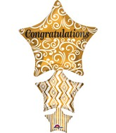 """25"""" Jumbo Congratulations Stacked Star Balloon"""