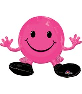 "19"" Airfill Only Happy Face Pink Balloon Packaged"