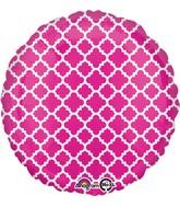 "18"" Pink and White quatrefoil Balloon"
