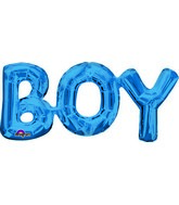 """20"""" Airfill Only Phrase """" BOY"""" BLUE Balloon Packaged"""