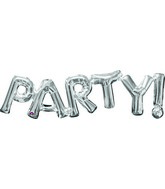 """33"""" Jumbo Phrase """" PARTY"""" Silver Balloon Packaged"""