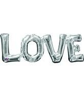 "25"" Airfill Only Jumbo Phrase "" LOVE"" Silver Balloon"