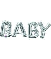 "26"" X 9"" Jumbo Phrase ""BABY"" Silver Balloon Packaged"