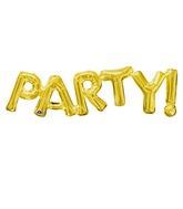 "33"" Jumbo Phrase "" PARTY"" Gold Balloon Packaged"