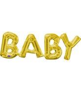"""26"""" X 9"""" Jumbo Phrase """"BABY"""" Gold Balloon Packaged"""