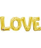 """20"""" Airfill Only Jumbo Phrase """" LOVE"""" Gold Balloon"""
