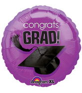 "18"" Congrats Grad Balloon (DARK) Purple"