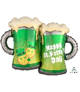 "32"" St. Patty's Emoticon Mugs Balloon"