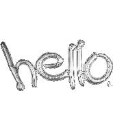 "33"" Airfill Only Freestyle Phrase ""Hello"" Silver Balloon"