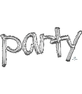 """37"""" Airfill Only Freestyle Phrase """"Party"""" Silver Balloon"""