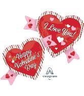 "38"" Happy Valentine's Day Double Hearts Balloon"