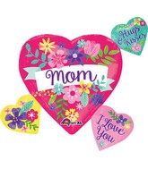 """27"""" Jumbo SuperShape Mom Flowers Heart Cluster"""