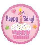 "18"" Happy 1st Birthday Girl Balloon"