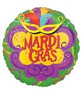"18"" Vibrant Mardi Gras Mylar Balloons"