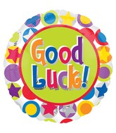 "18"" Good Luck Bright Polka Stars Balloon"