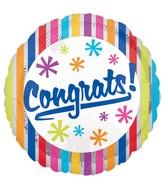 """18"""" Congrats Bright Silver Stripes Balloon"""