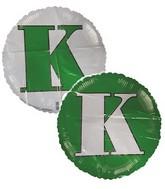 """18"""" Classic Letter Balloon Letter """"K"""" Green/White"""