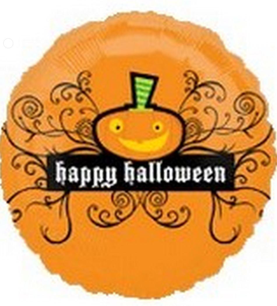 "18"" Happy Halloween Orange Black Swirls"