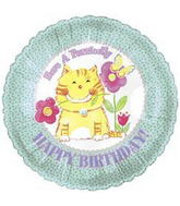 """18"""" Have a Purrectly Birthday Cat With Flowers"""
