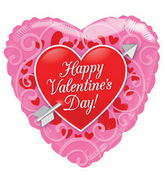 """18"""" Happy Valentine's Day Balloon Red Heart With Arrow"""