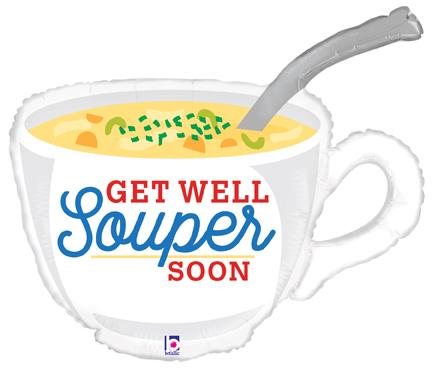 """31"""" Foil Shape Get Well Soup"""