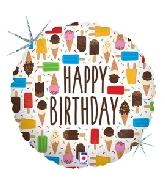 "18"" Holographic Balloon Birthday Ice Cream"