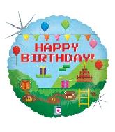 "18"" Holographic Balloon Pixel Birthday"