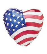 "18"" Single-Sided Balloon Patriotic Heart"