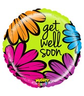 """21"""" Mighty Bright Balloon Mighty Bold Flowers Get Well"""