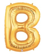 """7"""" Airfill (requires heat sealing) Megaloon Jr. Letter Balloons B Gold"""