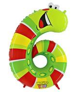 "40"" Number 6 ""Caterpillar"" Jumbo Balloon (Polybag)"