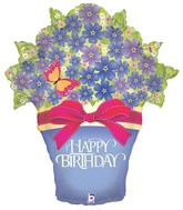 """33"""" Foil Shape Balloon Birthday Potted Violets"""