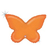 """30"""" Holographic Solid Color Butterfly Orange"""