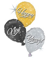 """40"""" Holographic Shape Happy New Year Trio"""