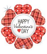 "43"" Holographic Shape Valentine Heart Flower Plaid"