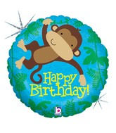 "18"" Holographic Balloon Monkey Buddy Birthday"