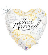 """18"""" Holographic Balloon Just Married Filigree"""