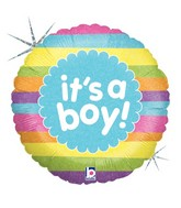 """9"""" Airfill Only Holographic Balloon It's A Boy Rainbow"""