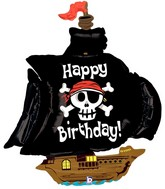 "46"" Foil Shape Balloon Pirate Ship Birthday"