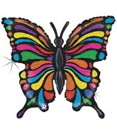 """33"""" Holographic Multicolour Butterfly Balloon"""