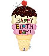 "33"" Holographic Shape Balloon Birthday Ice Cream Cone"