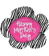 """38"""" Foil Shape Balloon Mother's Day Zebra Flower"""