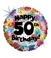 """18"""" Holographic Balloon 50th Party Birthday"""