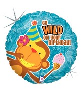 """18"""" Holographic Balloon Packaged Wild Birthday Wishes"""