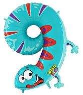 """40"""" Number 9 """"Gecko"""" Jumbo Balloon (Polybag)"""