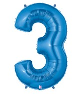 """40"""" Large Number Balloon 3 Blue"""