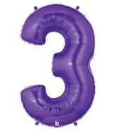 "40"" Large Number Balloon 3 Purple"