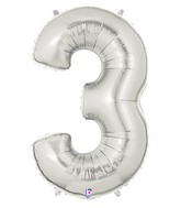 """40"""" Large Number Balloon 3 Silver"""